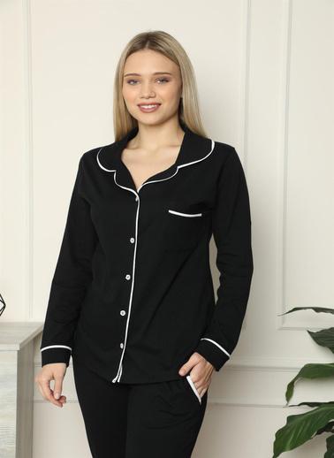 Akbeniz Kadın %100 Pamuk Penye Önden Düğmeli Uzun Kol Pijama Takım 2717 Siyah